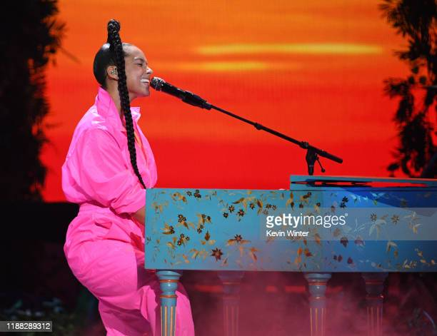 Alicia Keys performs onstage during the 20th annual Latin GRAMMY Awards at MGM Grand Garden Arena on November 14 2019 in Las Vegas Nevada