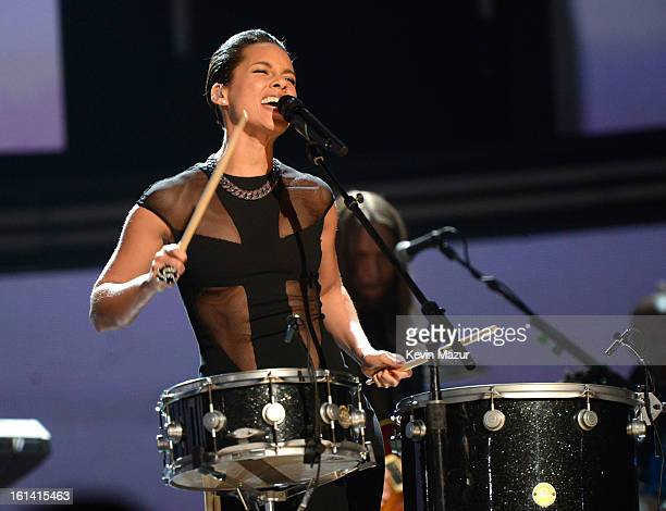 Alicia Keys performs onstage during the 55th Annual GRAMMY Awards at STAPLES Center on February 10, 2013 in Los Angeles, California.