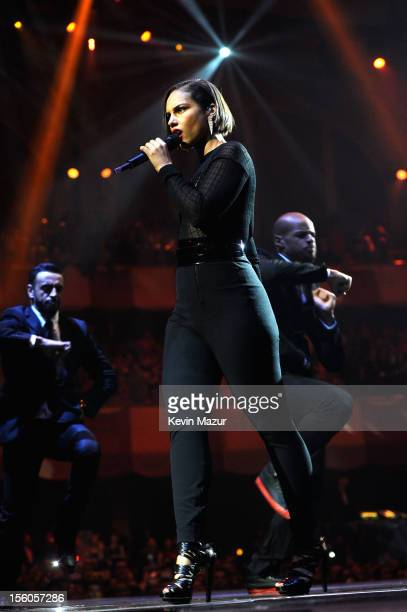 Alicia Keys performs onstage during the MTV EMA's 2012 at Festhalle Frankfurt on November 11, 2012 in Frankfurt am Main, Germany.