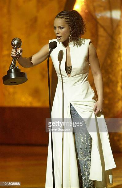 Alicia Keys picks up her second award of the night for Outstanding Album 'Songs In A Minor' at the 33rd NAACP Image Awards at the Universal...