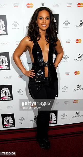 Alicia Keys poses in front of the boards at the Swarovski Fashion Rocks at the Royal Albert Hall on October 18 2007 in London England
