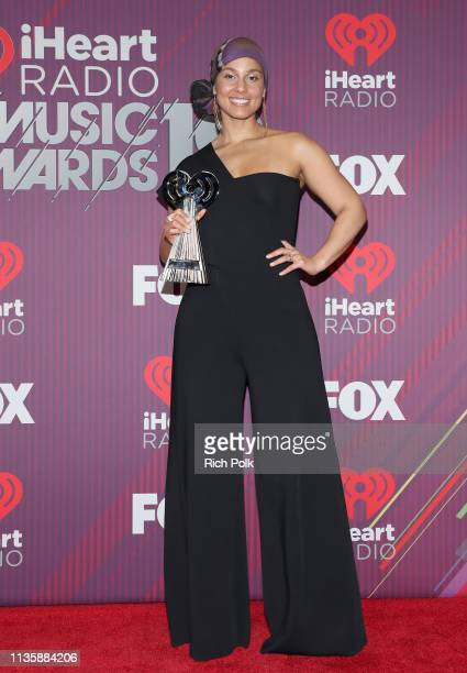 Alicia Keys poses in the press room during at the 2019 iHeartRadio Music Awards which broadcasted live on FOXat Microsoft Theater on March 14 2019 in...