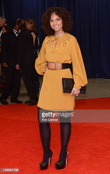 Alicia Keys poses on the red carpet during the 98th annual White House Correspondents' Association Dinner at the Washington Hilton on April 28 2012...