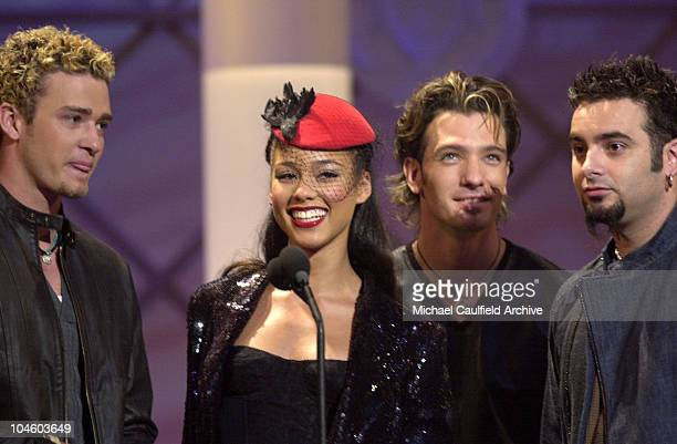 Alicia Keys presents the Soul/RB Favorite Band Duo or Group award with Nsync's Justin Timberlake JC and Chris Kirkpatrick at the Shrine Auditorium in...