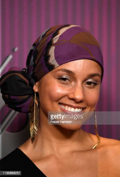Alicia Keys recipient of the iHeartRadio Innovator Award poses in the press room during the 2019 iHeartRadio Music Awards which broadcasted live on...
