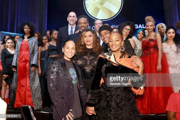 Alicia Keys Richard Lawson Tina KnowlesLawson Dr Michael Eric Dyson Maxwell and National CARES Mentoring Movement Founder Susan L Taylor on stage...