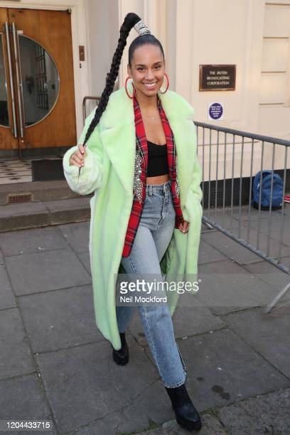 Alicia Keys seen leaving BBC Maida Vale Studios after performing in the Live Lounge on February 06, 2020 in London, England.