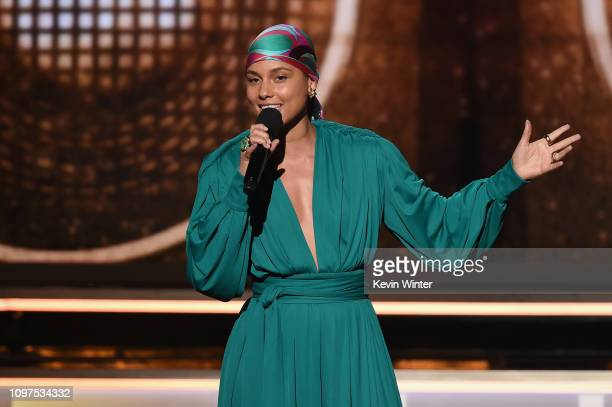 Alicia Keys speaks during the 61st Annual GRAMMY Awards at Staples Center on February 10 2019 in Los Angeles California