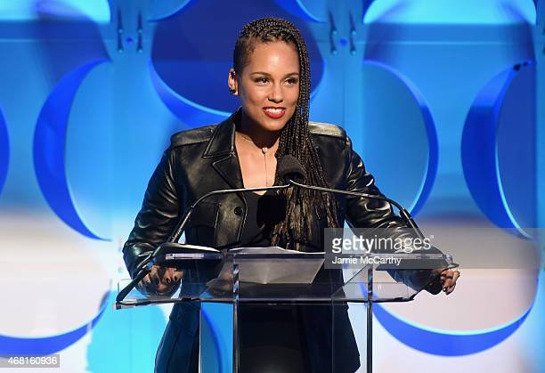 Alicia Keys speaks onstage at the Tidal launch event #TIDALforALL at Skylight at Moynihan Station on March 30 2015 in New York City