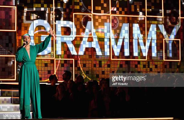 Alicia Keys speaks onstage during the 61st Annual GRAMMY Awards at Staples Center on February 10 2019 in Los Angeles California
