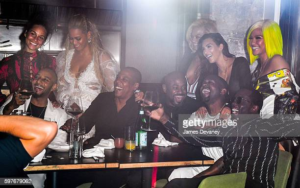 Alicia Keys Swizz Beatz Beyonce JayZ Kanye West Kim Kardashian Sean 'Diddy' Combs and Cassie celebrate their 2016 MTV Video Music Awards After Party...
