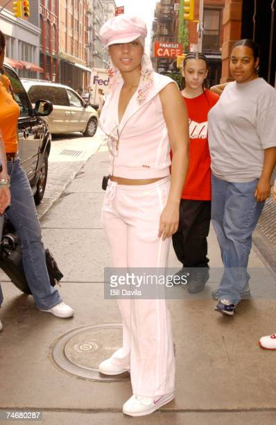 Alicia Keys wearing Baby Phat at the Alicia Keys Out and About in Soho New York City on July 24 2003 at Soho in New York NY