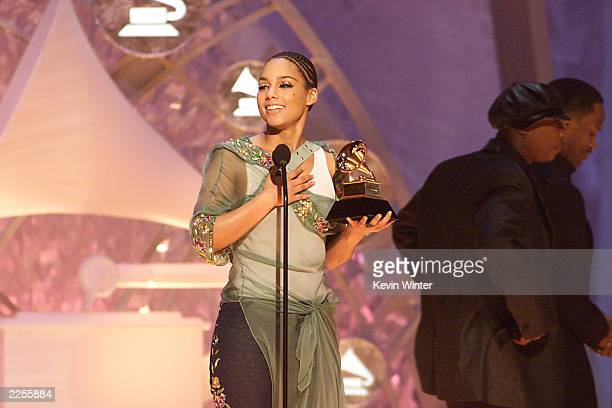 Alicia Keys who won for Best New Artist and Best RB Album accepting her award at the 44th Annual Grammy Awards held at the Staples Center in Los...