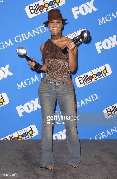 Alicia Keys winner of Female New Artist of The Year and New RB HipHop Artist poses backstage at the 2001 Billboard Music Awards at the MGM Grand...