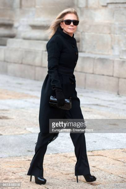 Alicia Koplowitz attends the the mass to mark the 25th Anniversary of the Count of Barcelona's death the monastery of El Escorial on April 3 2018 in...