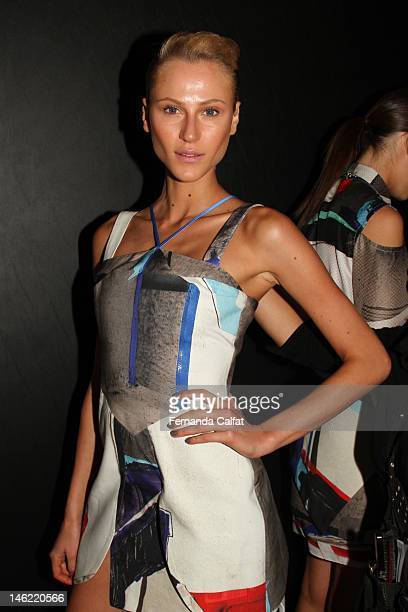 Alicia Kuczman is seen backstage at the Triton show during Sao Paulo Fashion Week Spring/Summer 2013 on June 11 2012 in Sao Paulo Brazil