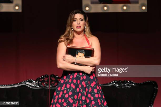 Alicia Machado acting on stage during the premiere for the play 'Divinas' at Lunario del Auditorio Nacional on March 29 2019 in Mexico City Mexico