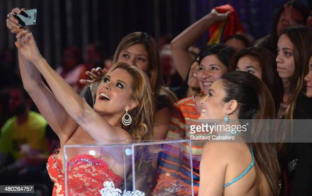 Alicia Machado and Denise Quinones on the set of 'Nuestra Belleza Latina' on March 23 2014 in Miami Florida