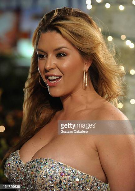 Alicia Machado arrives at Sabado Gigante 50th Anniversary Celebration at Univision Headquarters on October 24 2012 in Miami Florida