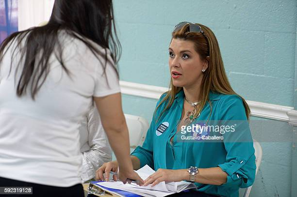 Alicia Machado campaigns for Hillary Clinton on August 20 2016 in Miami Florida