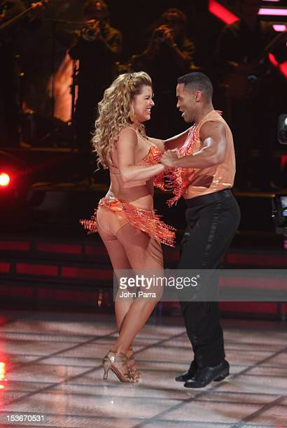 Alicia Machado performs in Univisions Mira Quien Baila on October 6 2012 in Miami Florida