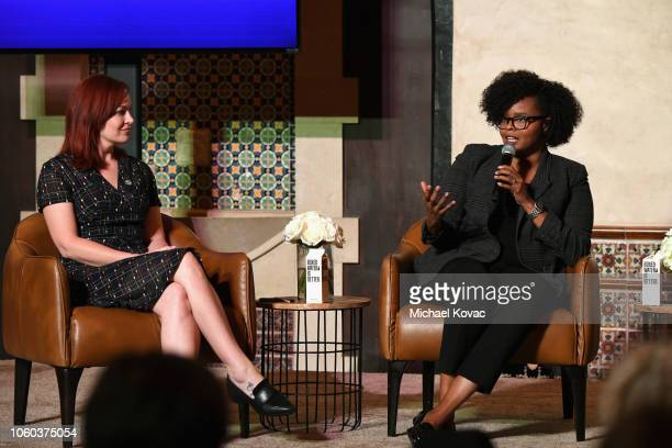 Alicia Malone and Jacqueline Coley speak on stage during the 'Who Says Underrepresented Voices In Film Criticism' panel discussion at Roosevelt...