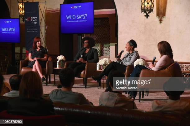 Alicia Malone Jacqueline Coley Lisa Kennedy and Ann Hornaday speak on stage during the 'Who Says Underrepresented Voices In Film Criticism' panel...