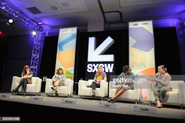 Alicia Malone Jen Yamato Amy Nicholson Jacqueline Coley and Monica Castillo speak onstage at The Female Voices of Film Twitter during SXSW at Austin...