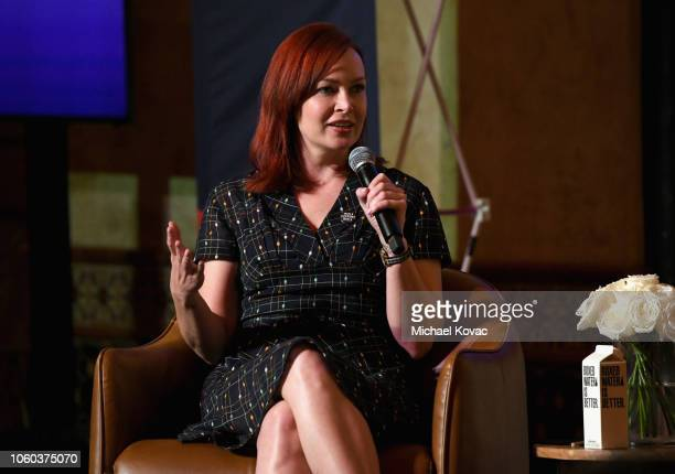 Alicia Malone speaks on stage during the 'Who Says Underrepresented Voices In Film Criticism' panel discussion at Roosevelt Ballroom on November 11...