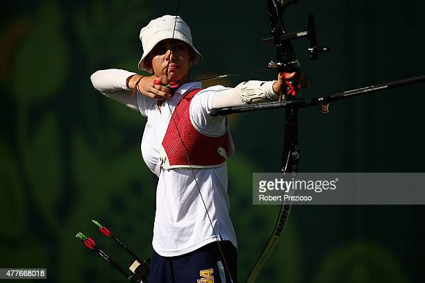 Alicia Marin of Spain competes against Laura Nurmsalu of Estonia in the Archery Women's Individual 1/32 Elemination during day seven of the Baku 2015...