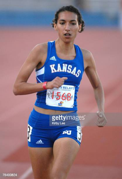 Alicia McGregor of Kansas finished second in the women's 3,000 meters in 10:18.97 in the 80th Kansas Relays at Memorial Stadium in Lawrence, Kansas...