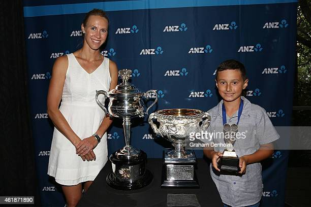 Alicia Molik and ANZ Hot Shot of the Year winner TJ Gordon pose with the Daphne Akhurst Memorial Cup and the Norman Brookes Challenge Cup during the...