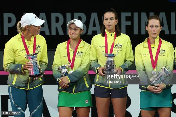 Alicia Molik Ash Barty Ajla Tomljanovic and Sam Stosur of Australia look on after being defeated in the 2019 Fed Cup Final tie between Australia and...