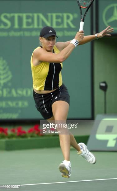 Alicia Molik during her match against Justine HeninHardenne at the Nasdaq 100 Open in Key Biscayne FL on March 28 2005 HeninHardenne defeated Molik...
