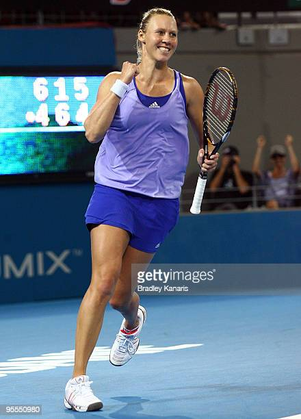 Alicia Molik of Australia celebrates victory after defeating Ekaterina Makarova of Russia in her first round match during day one of the Brisbane...