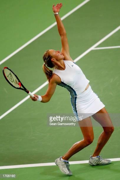 Alicia Molik of Australia in action against Daniela Hantuchova of the Slovak Rebublic during the 2002/2003 Hyundai Hopman Cup at the Perth Superdome...