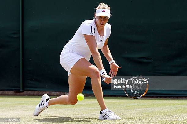 Alicia Molik of Australia in action during her second round match against Greta Arn of Hungary on Day Three of the Wimbledon Lawn Tennis...