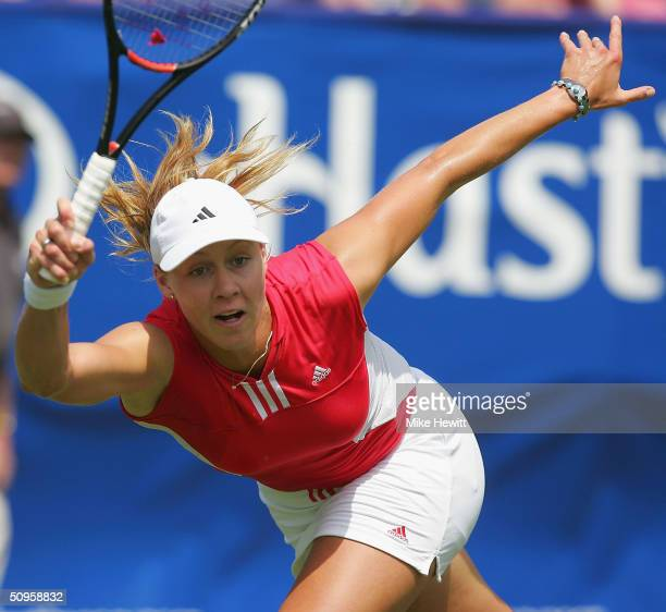 Alicia Molik of Australia plays a forehand during her qualifying singles match against Shenay Perry of USA in the Hastings Direct International...