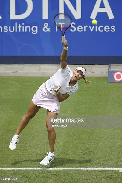 Alicia Molik of Australia serves to Ana Ivanovic of Serbia and Montenegro during an Ordina Open first round tennis match on June 18 2006 in...