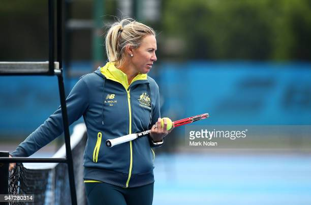 Alicia Molik of Australia watches on at practice after a media opportunity ahead of the Australia v Netherlands Fed Cup World Group Playoff at...