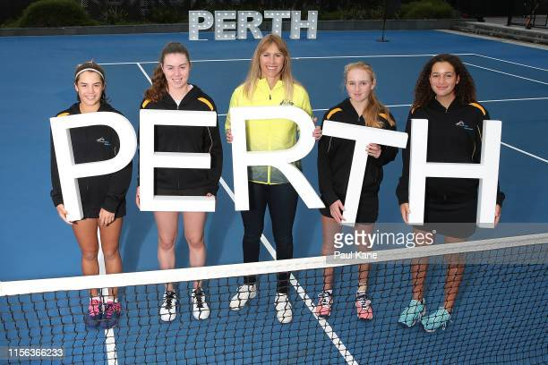 Alicia Molik poses with junior Tennis West State players after Tennis Australia announce the 2019 Fed Cup Final venue at RAC Arena on June 17 2019 in...
