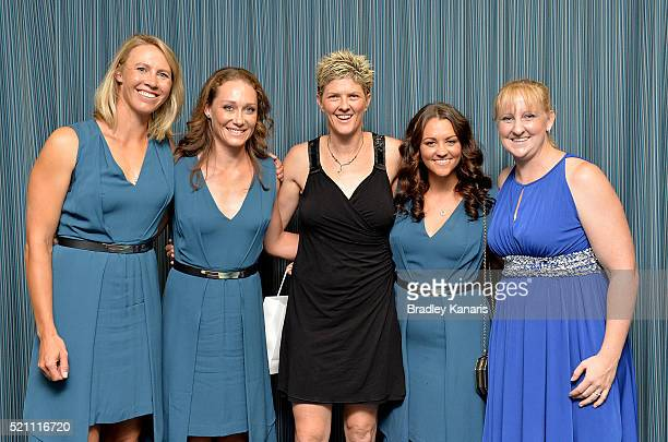 Alicia Molik Samantha Stosur Natalie Cook Casey Dellacqua and Jessica Schipper pose for a photo during the Fed Cup practice session at Pat Rafter...