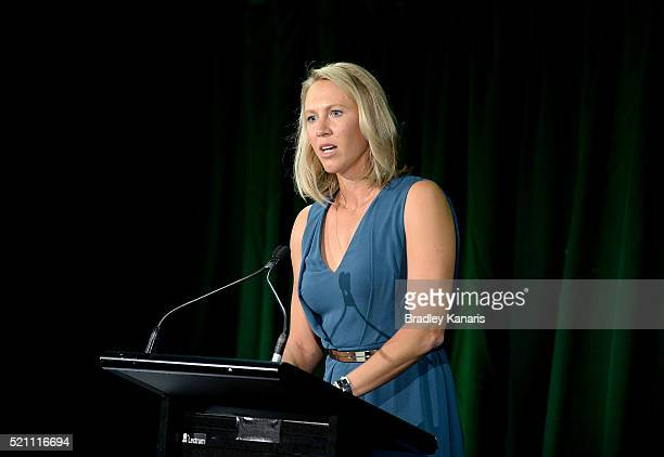 Alicia Molik speaks during the Fed Cup Official Dinner on April 14 2016 in Brisbane Australia
