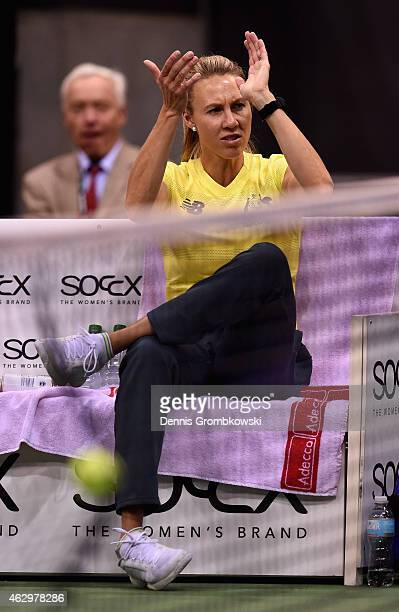 Alicia Molik team captain Australia reacts during the Fed Cup 2015 World Group First Round tennis between Germany and Australia at PorscheArena on...