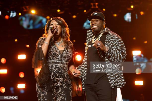 """Alicia Myers and Curtis """"50 Cent"""" Jackson performing onstage at STARZ Madison Square Garden """"Power"""" Season 6 Red Carpet Premiere, Concert, and Party..."""