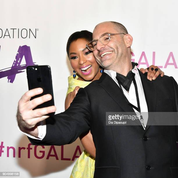 Alicia Quarles and Jono Waks take a selfie at the 2018 National Retail Federation Gala at Pier 60 on January 14 2018 in New York City