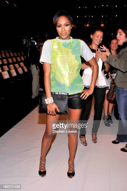 Alicia Quarles attends the Badgley Mischka fashion show during MercedesBenz Fashion Week Spring at The Theatre at Lincoln Center on September 10 2013...