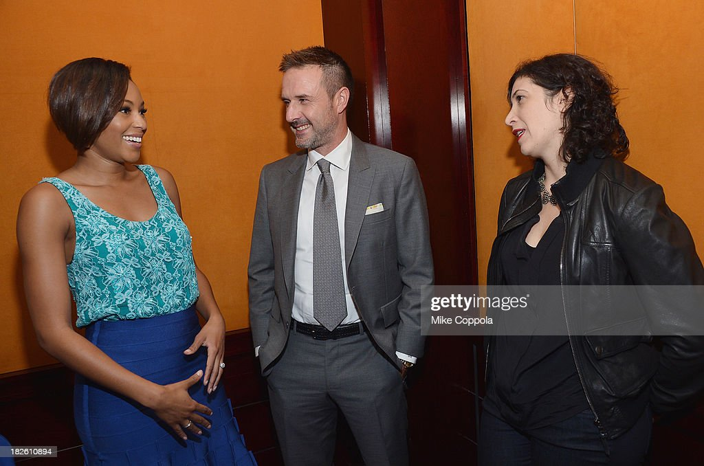 Alicia Quarles, David Arquette, and Sr. Writer Entertainment Weekly Jessica Shaw speak before a panel on education in anticipation of the upcoming series 'Dream School' on October 1, 2013 in New York City.