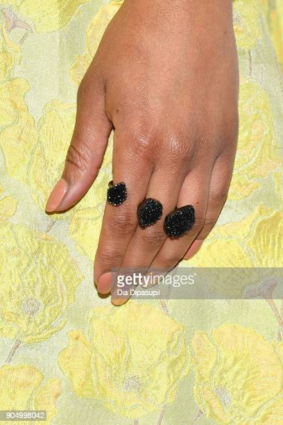Alicia Quarles ring detail attends the 2018 National Retail Federation Gala at Pier 60 on January 14 2018 in New York City