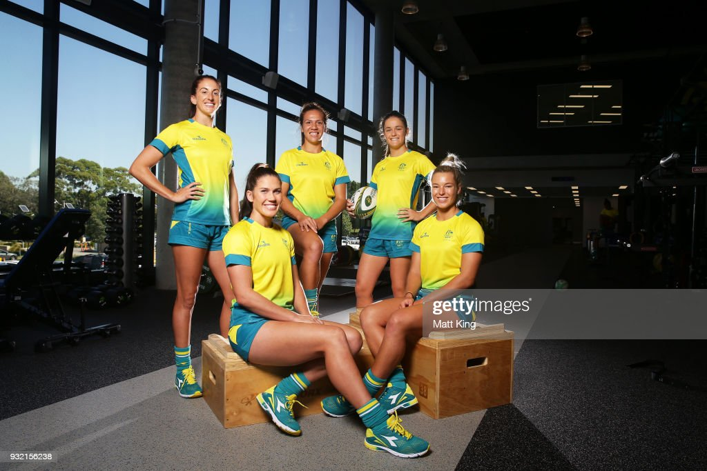 Alicia Quirk, Charlotte Caslick, Evania Pelite, Dominique Du Toit and Emma Tonegato of the Australian Women's Sevens team pose during the Australian Rugby Sevens Commonwealth Games Teams Announcement at the Rugby Australia building on March 15, 2018 in Sydney, Australia.